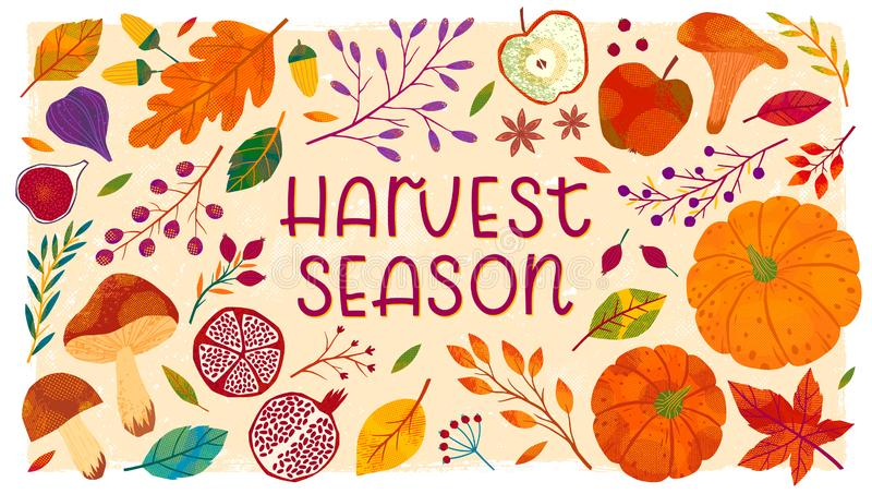 Harvest fest banner with hand drawn autumn seasonal elements. Vegetables,fruits,pumpkins,mushrooms,tree branches,apples,figs,pomegranates,leaves,berries,acorns vector illustration