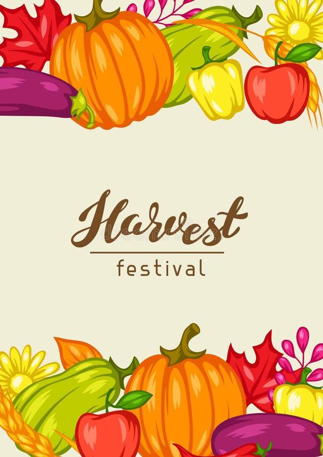 Harvest festival background with fruits and vegetables. stock illustration