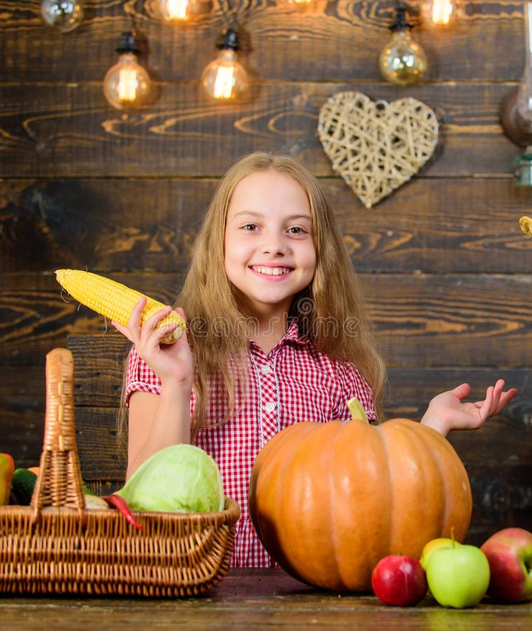 Harvest festival concept. Child little girl enjoy farm life. Organic gardening. Grow your own organic food. Girl kid at. Farm market with organic vegetables stock image