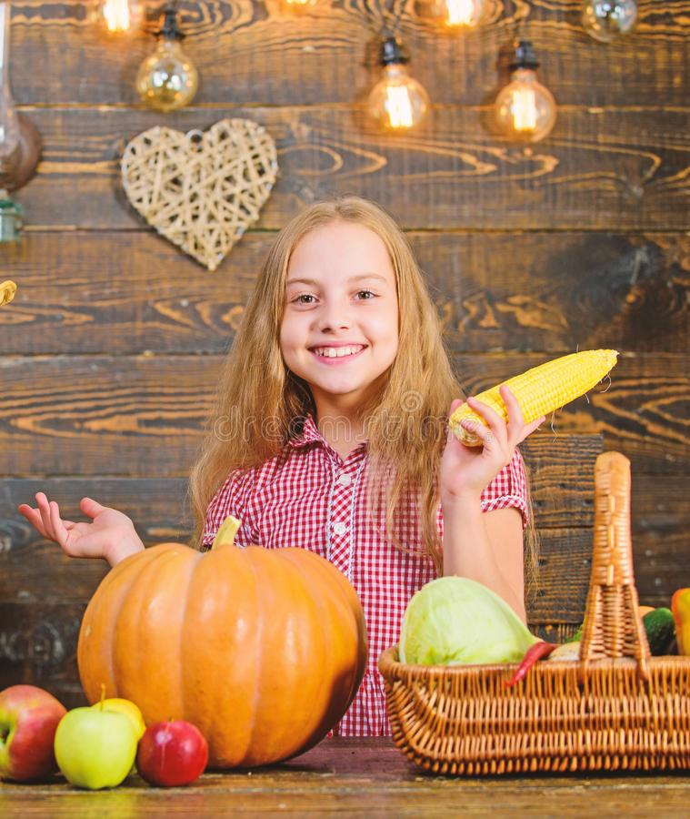 Harvest festival concept. Child little girl enjoy farm life. Organic gardening. Grow your own organic food. Girl kid at. Harvest festival concept. Child little royalty free stock images