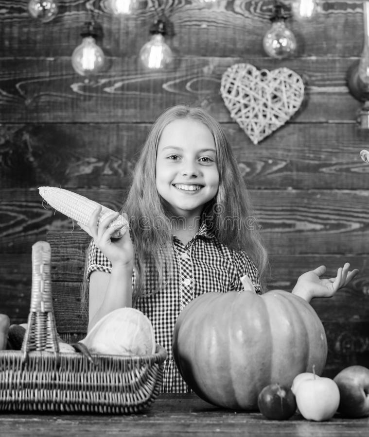 Harvest festival concept. Child little girl enjoy farm life. Organic gardening. Grow your own organic food. Girl kid at. Farm market with organic vegetables royalty free stock photos