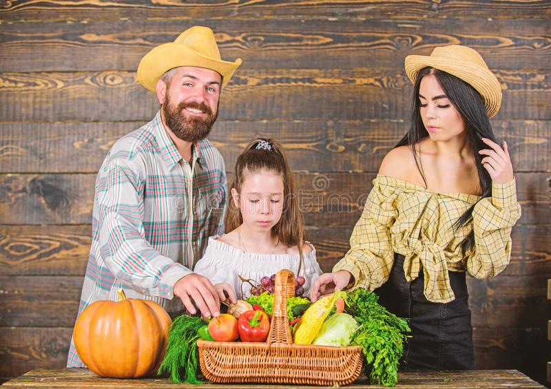 Harvest festival concept. Family farmers with harvest wooden background. Family rustic style farmers market with fall royalty free stock images
