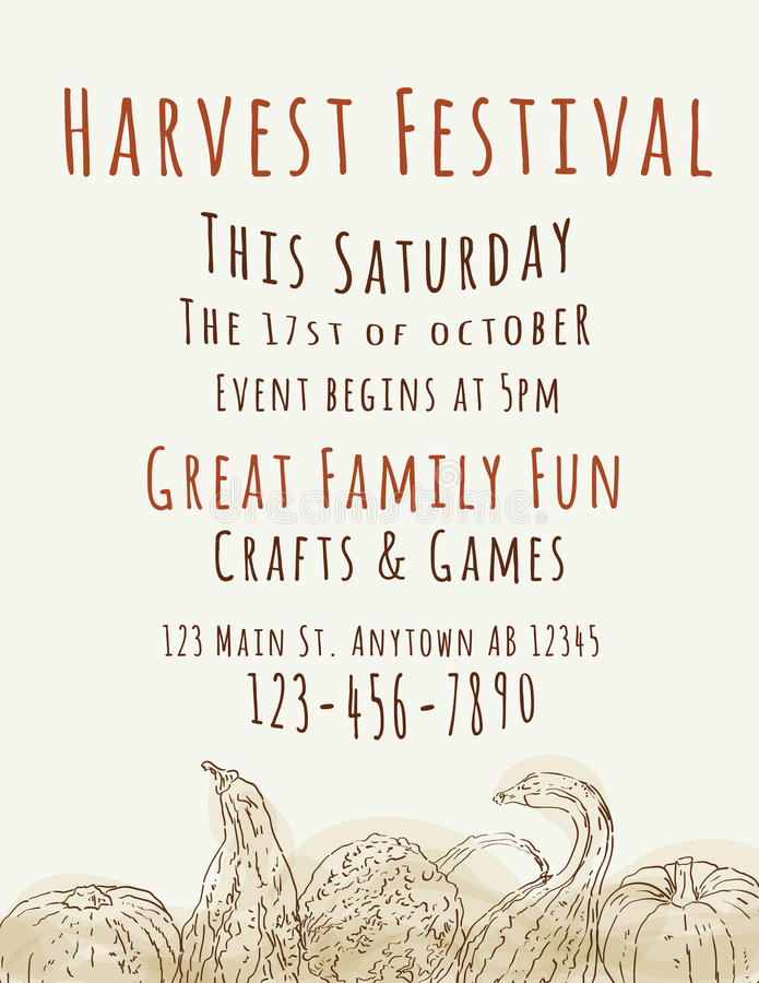 Harvest Festival Flyer Template. Harvest Festival poster with hand drawn watercolor gourds royalty free illustration