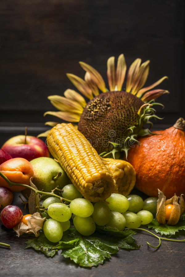 Harvest fruits and vegetables with a sunflower on a dark wooden table, on the wooden background, close up royalty free stock image