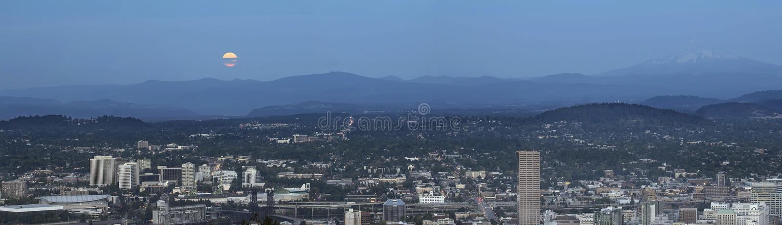 Harvest Full Moon Over Portland Panorama stock photography