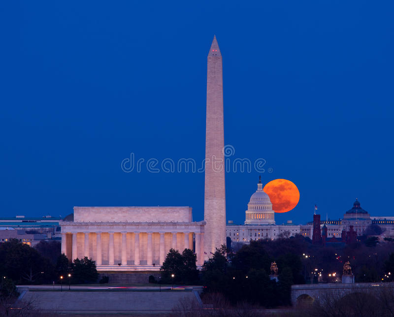Harvest Moon Rising Over Capitol In Washington DC Stock Image