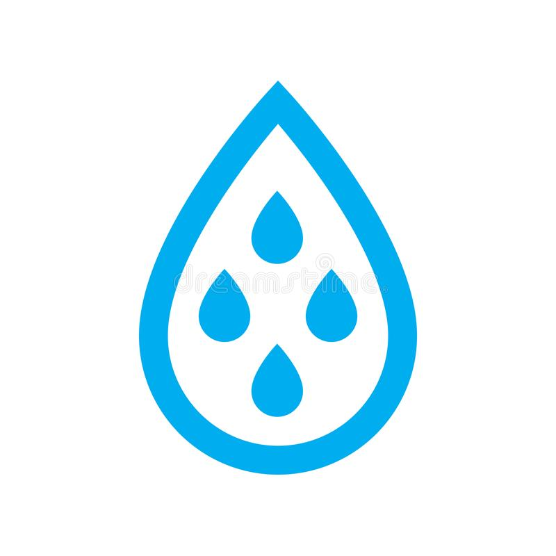 Harvest rain water for reuse icon. Blue rain water drips in water drop symbol vector illustration