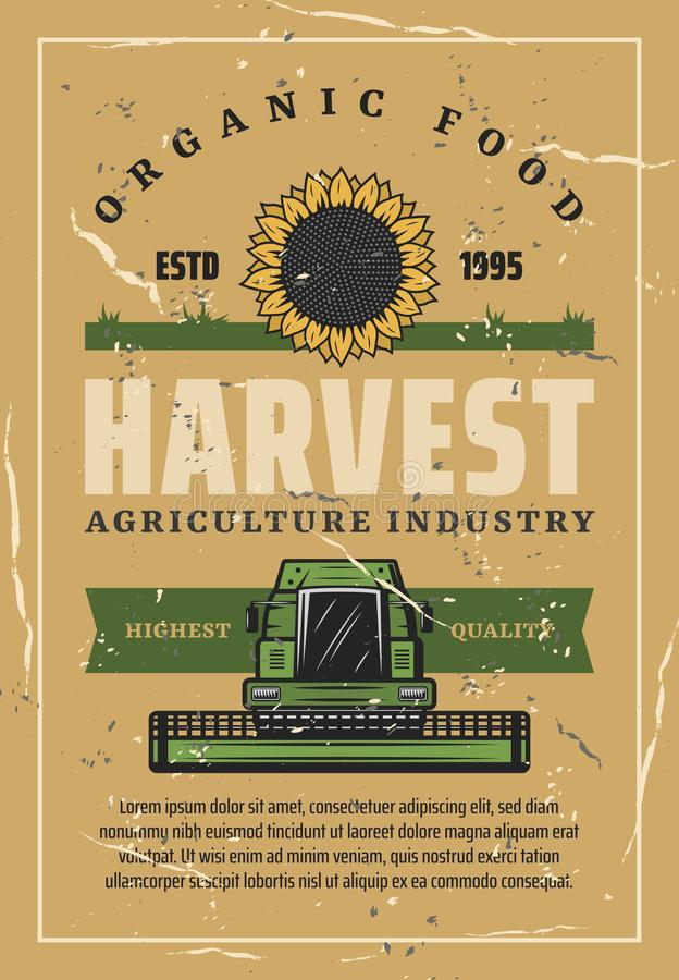Harvest retro poster, sunflower and combine royalty free illustration