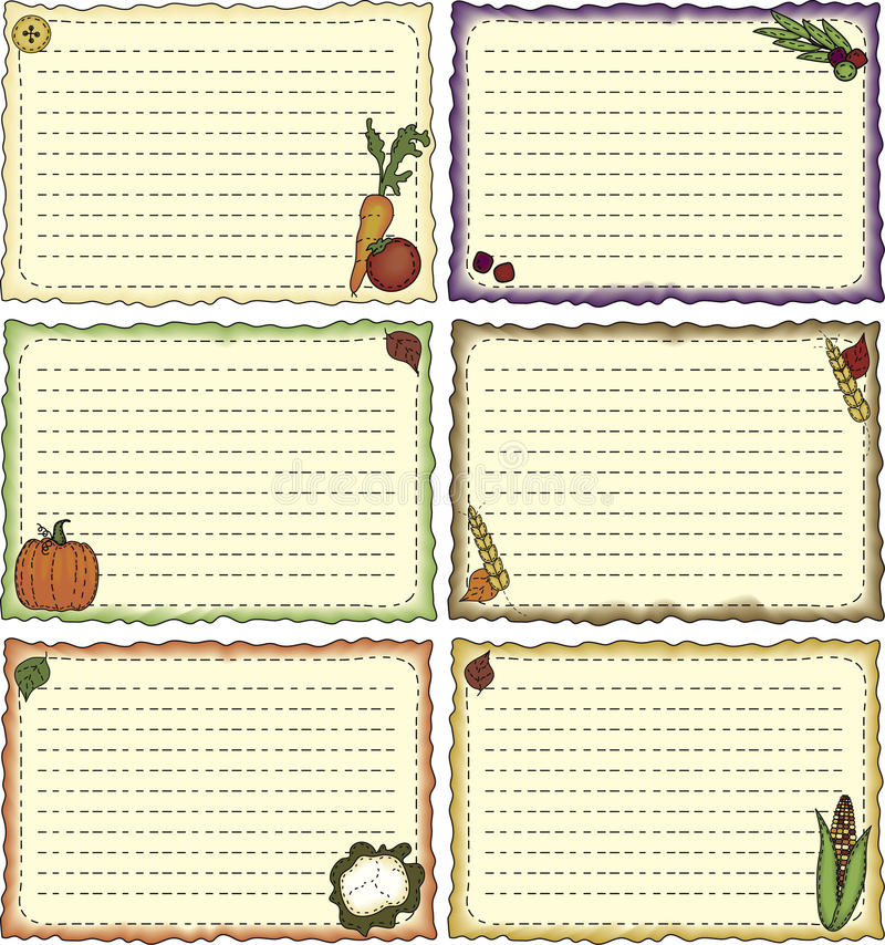 Harvest-theme Recipe Cards stock illustration