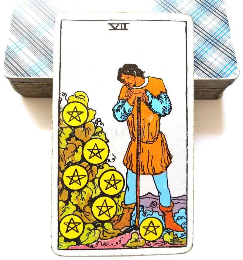 7 Seven of Pentacles Tarot Card Harvest Time Rewards Results Profit Payouts Dividends Shares Bonus. Harvest Time Rewards Results Profit Payouts Dividends Shares royalty free illustration