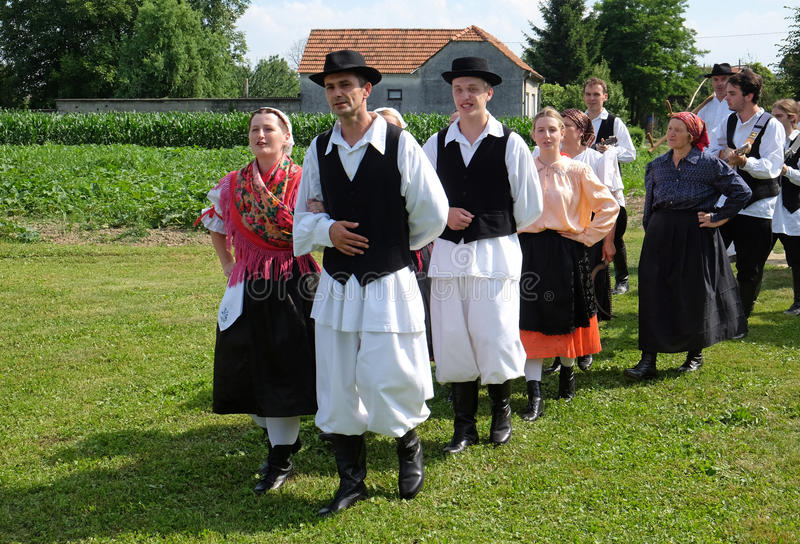 The harvest traditionally begins assembling villagers, singing and dancing and good food. In Nedelisce, Croatia stock photography