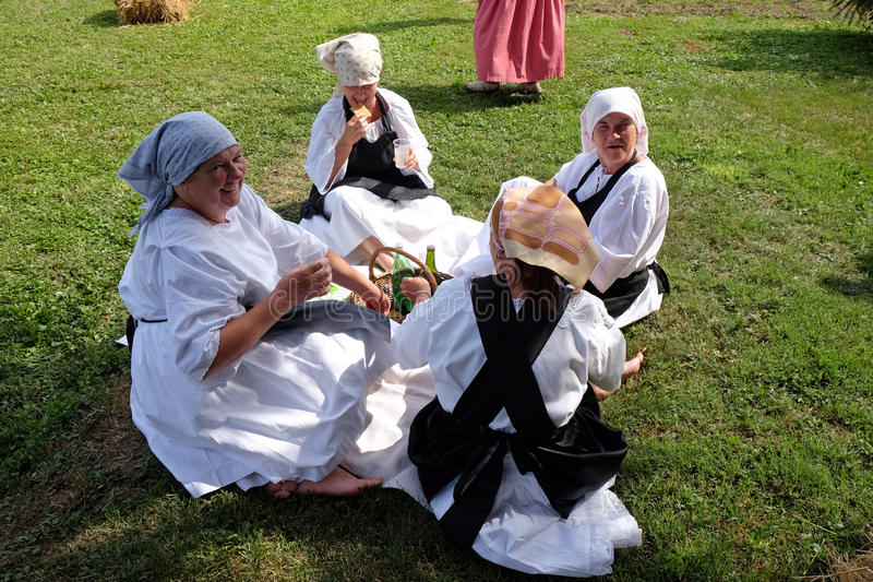 The harvest traditionally begins assembling villagers, singing and dancing and good food. In Nedelisce, Croatia stock photo