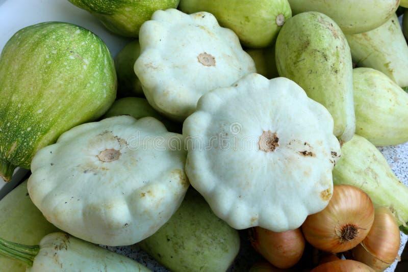 Harvest of vegetables: bush pumpkins, vegetable marrows, onions stock photography