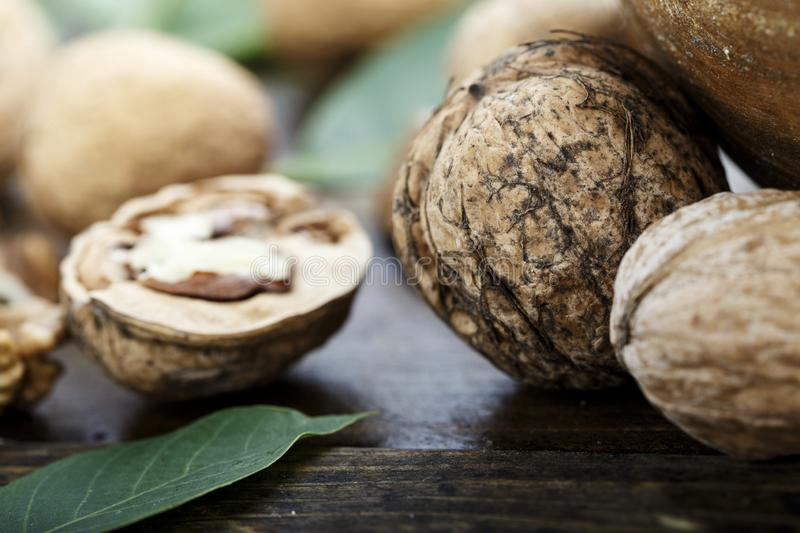 Inshell walnuts close-up royalty free stock images