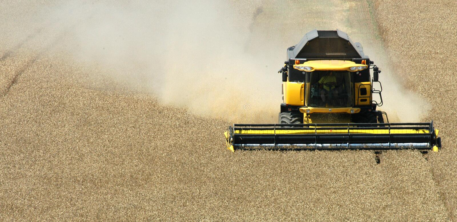 Harvester. Summer harvest on field in Czech republic royalty free stock photography