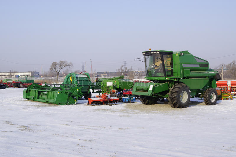 Harvester combine on winter storage royalty free stock image