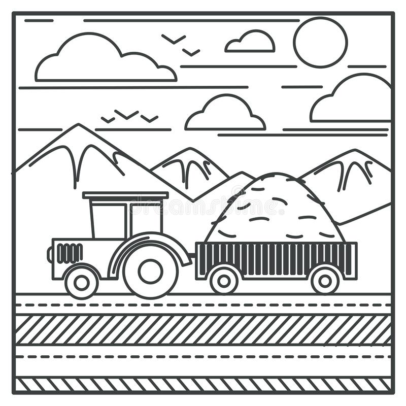 Harvester or farm tractor carrying hay in carriage outline drawing stock illustration