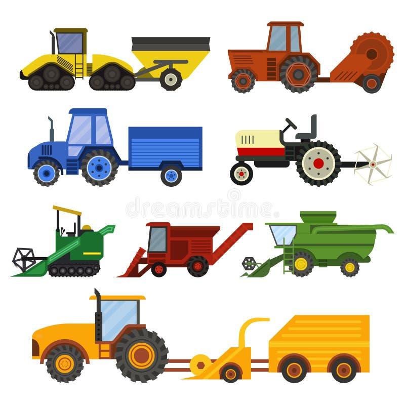 Harvester machine vector set. vector illustration
