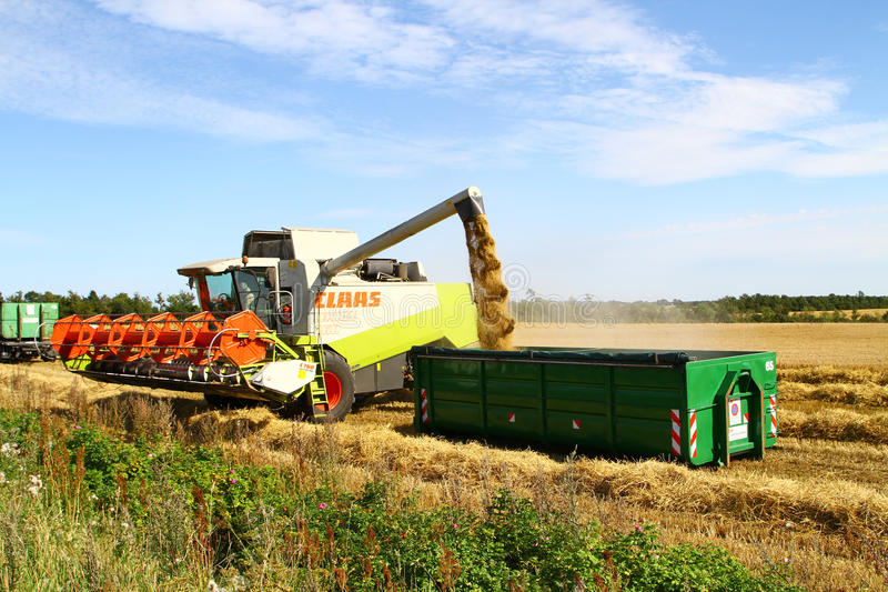 Harvester Unloading Editorial Stock Photo