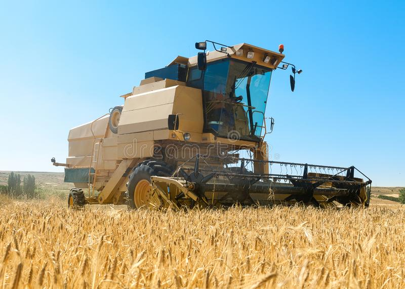 Harvester working in the field on sunny day with blue sky. Agricultural machinery working on the Barley tour with Sunny day stock photos