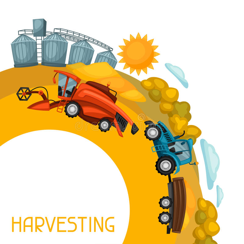 Harvesting background. Combine harvester, tractor and granary on wheat field. Agricultural illustration farm rural. Landscape royalty free illustration