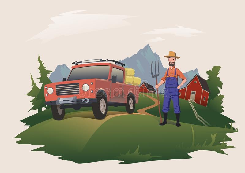 Harvesting or buying hay. Man standing next to a car, loaded with hay. Farmer with pitchfork. Vector illustration royalty free illustration