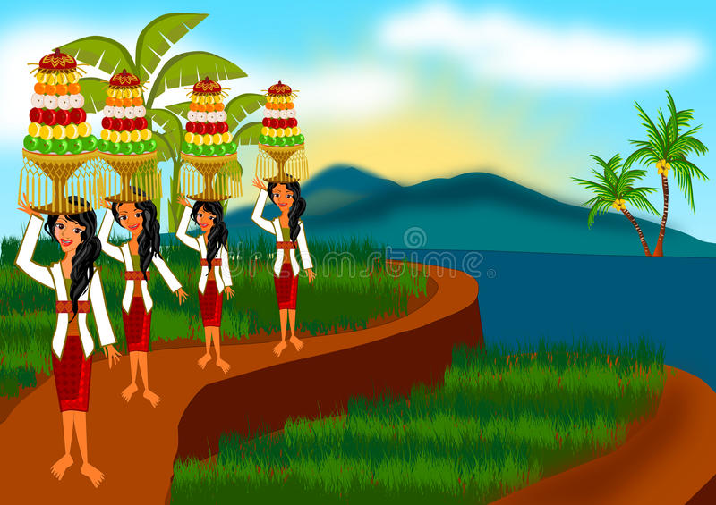Harvesting ceremony in Bali. Woman wearing traditional clothing of harvesting ceremony in Bali Indonesia illustration stock illustration