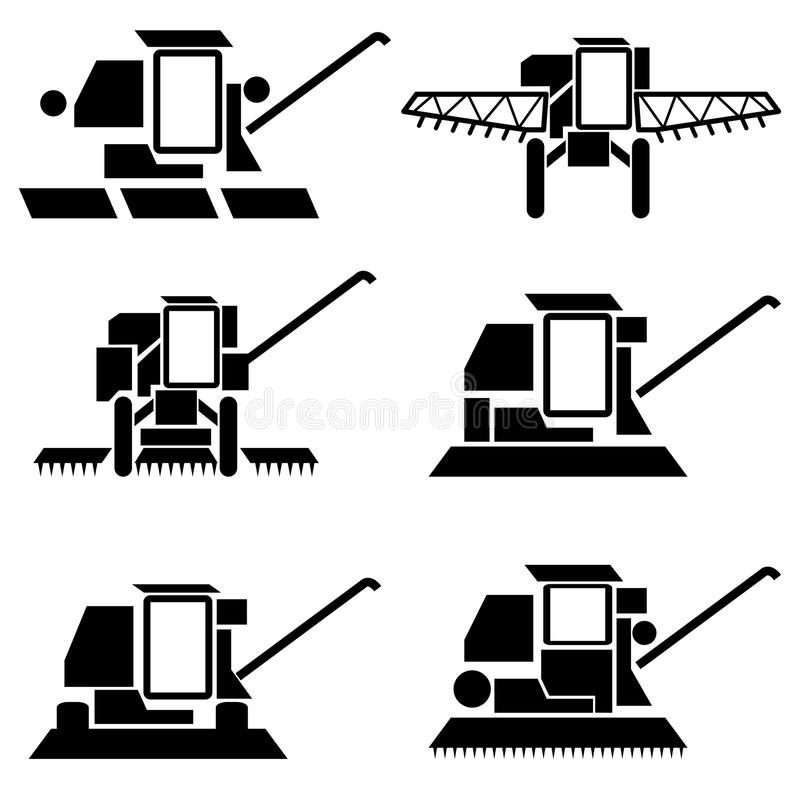 Harvesting combine. Vector agricultural vehicles harvesting combine silhouettes set stock illustration