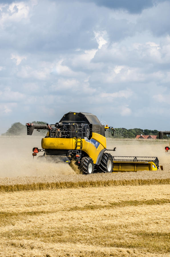 Combines harvesting field stock photo