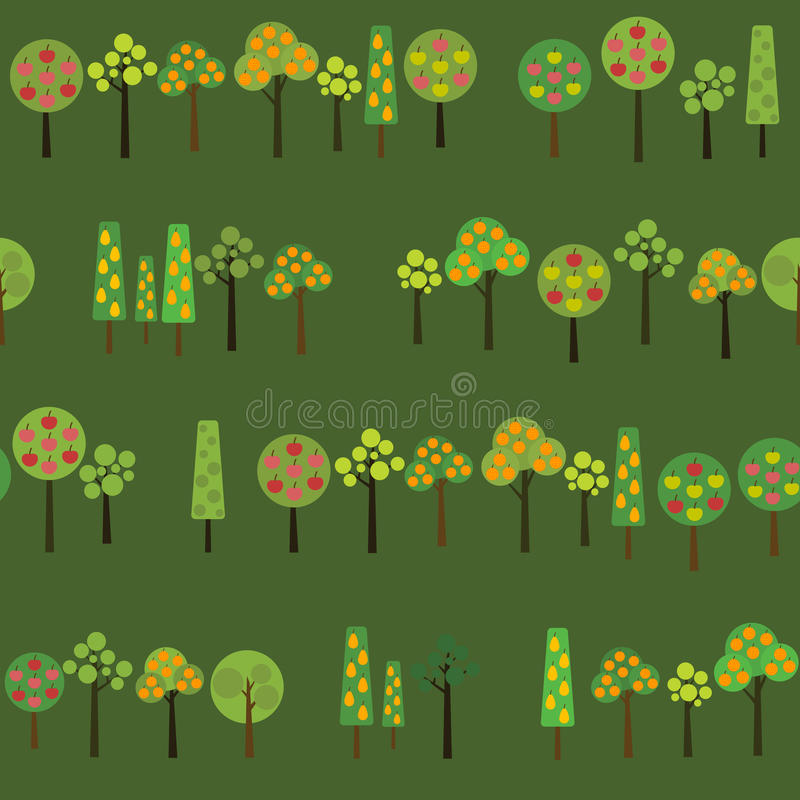 Harvesting Fruits trees. Texture with various apple, orange and pear trees in the garden. Autumn season illustration with Fruit trees in Harvest time. Seamless vector illustration