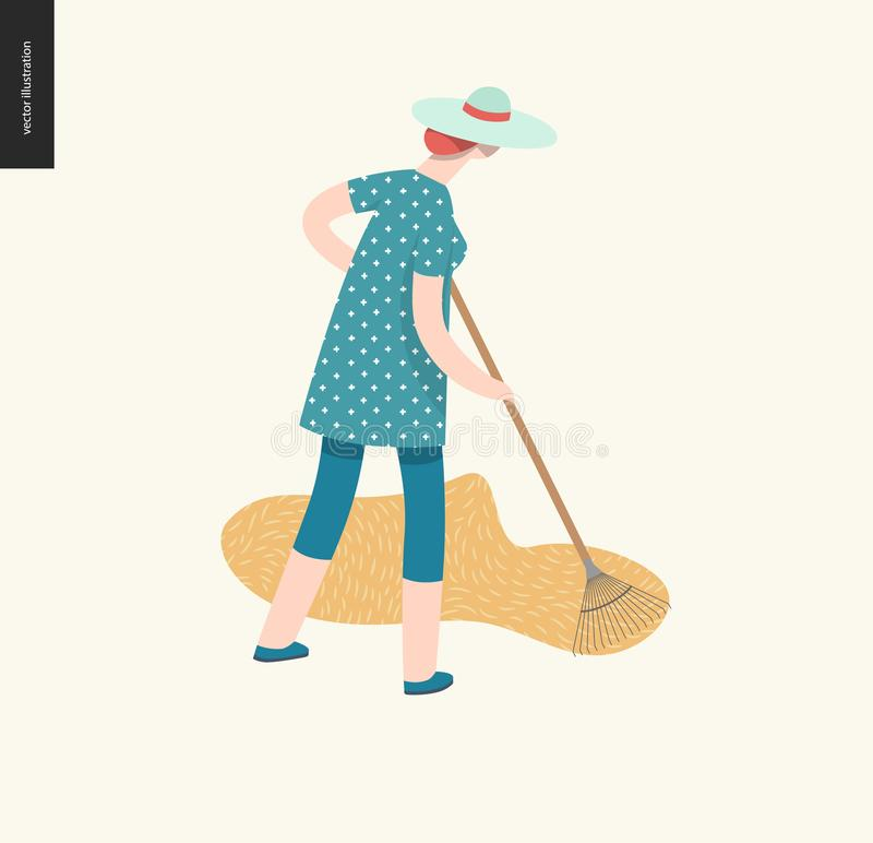 Harvesting people, fall stock illustration