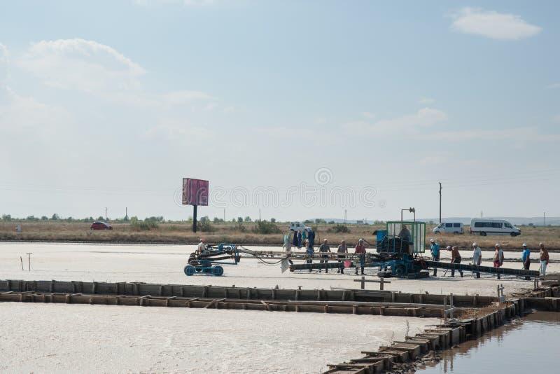 Harvesting salt in the Bulgarian royalty free stock photo