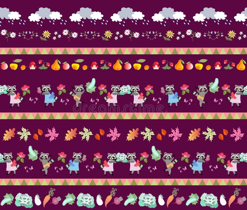 Harvesting. Seamless striped pattern with cute cartoon characters. Little raccoons, clouds, autumn leaves, fruits and vegetables. Fairy tale vector vector illustration