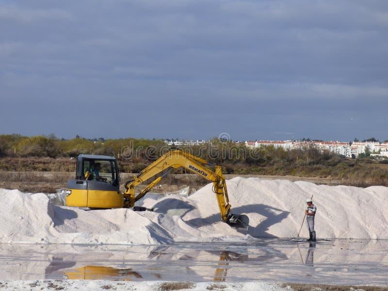 Harvesting Tavira salt. royalty free stock photography