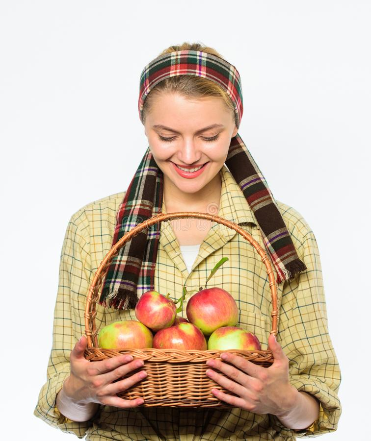 Harvesting time concept. Lady farmer or gardener proud of her harvest. Woman cheerful carry basket with natural fruits stock photography