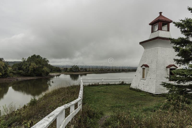 Harvey Bank, Novo Brunswick/Canadá - 9 de outubro de 2016: O farol de Anderson Hollow está no parque do estaleiro na estrada da r fotos de stock royalty free