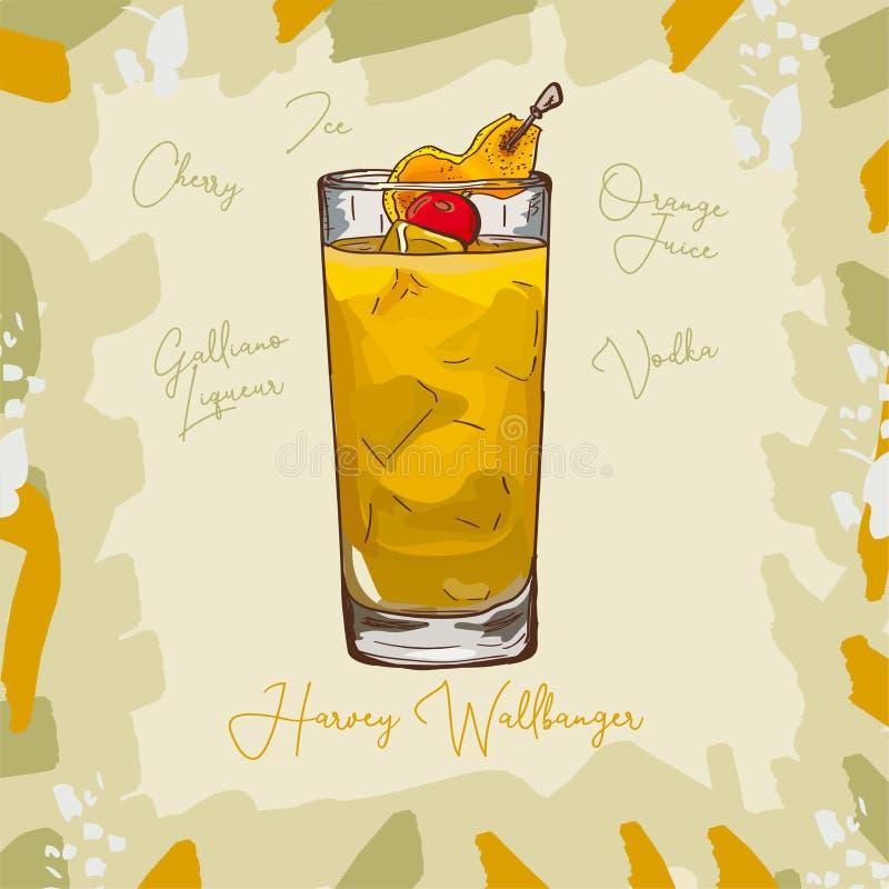 Harvey Wallbanger Contemporary classic cocktail illustration. Alcoholic bar drink hand drawn vector. Pop art. Harvey Wallbanger Contemporary of Vodka, Orange stock illustration