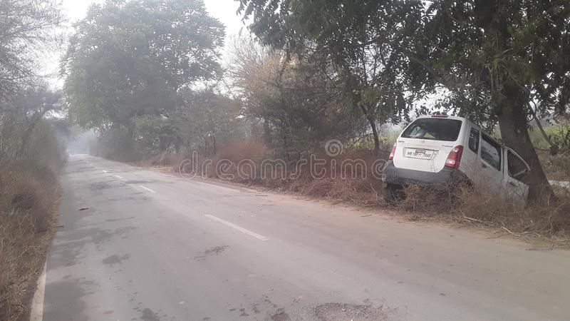 Haryana India in village streets Road in accident. In summer cool and rain season and unfinished Road royalty free stock photography