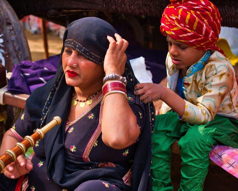 Haryanvivrouwen en Kind royalty-vrije stock fotografie