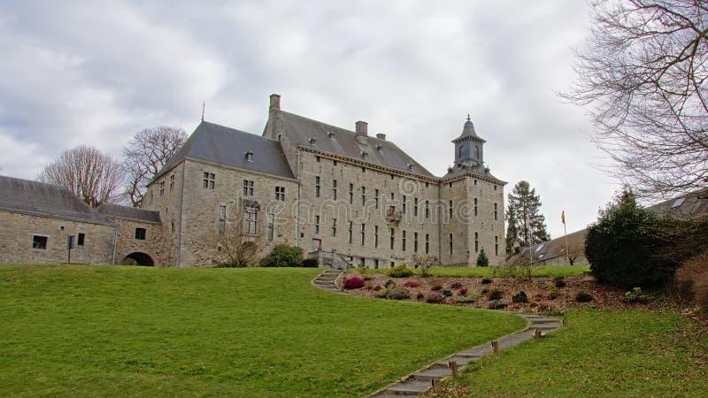 Harze historisch kasteel in Mosan-Renaissancestijl, Aywaille, België stock foto