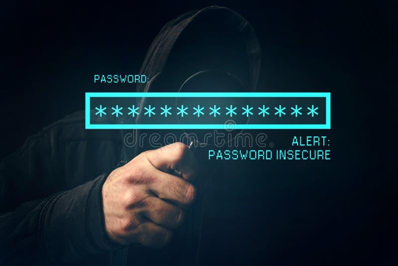 Hasła niepewny ostrzeżenie, unrecognizable komputerowego hackera kraść obraz stock