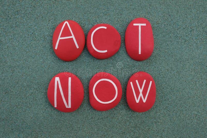 Hasło 'Act Now', znak protestu 'Climate Emergency' złożony z czerwonych kamieni nad zielonym piaskiem obrazy royalty free