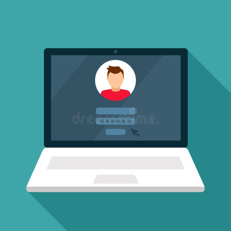 Hasło ochrona, Internetowy ochrony pojęcie Sieć jest bezpieczna U?ytkownika avatar P?aska wektorowa ilustracja royalty ilustracja