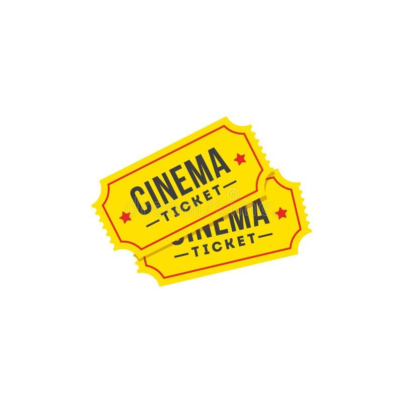 Hasłowa biletowa ikona w mieszkanie stylu Kinowy ikona set ilustracja wektor