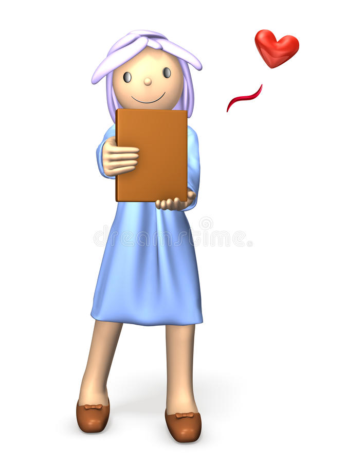 She has one of her favorite books. royalty free illustration