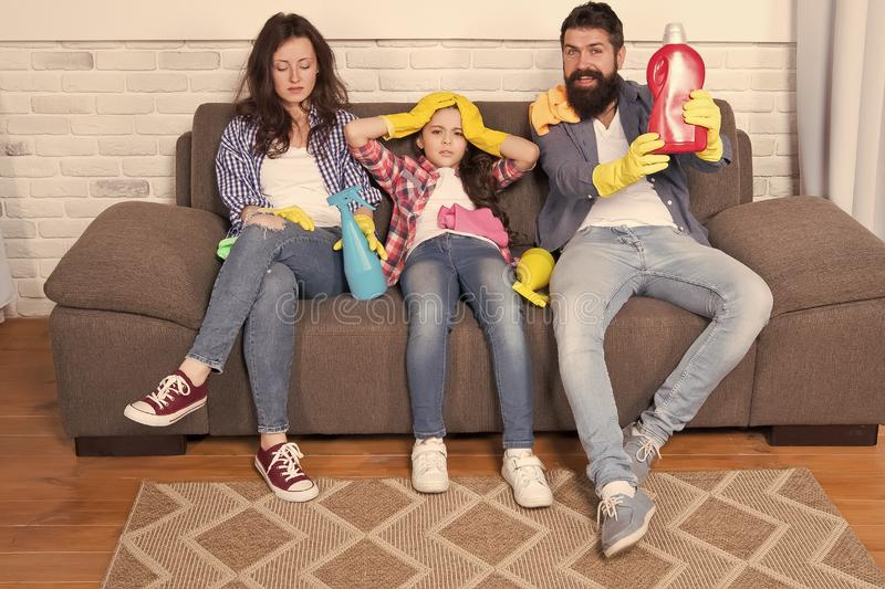 When it has to be clean. happy and clean. family clean house. Happy family hold cleaning products. Mother, father and. Happy daughter clean house. happy working stock photos