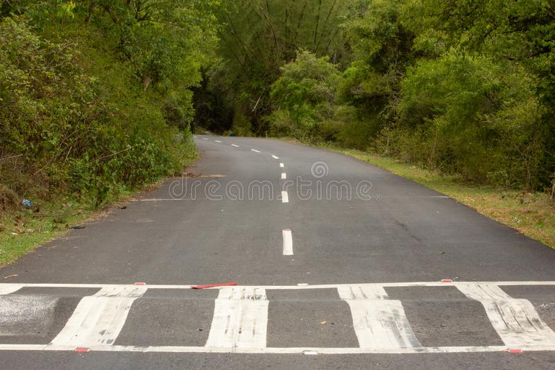 Beautiful Ghat road along the mountain range of Talamalai Reserve Forest, Hasanur, Tamil Nadu - Karnataka State border, India. Hasanur is a town in Talamalai stock images