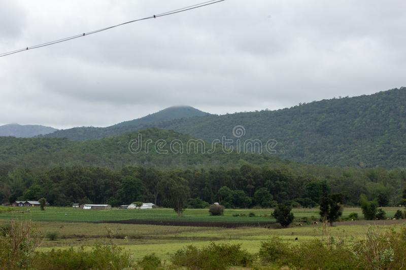 Farmland and meadows in Hasanur, Tamil Nadu, India. Hasanur is a town in Talamalai Reserve Forest in Tamil Nadu - Karnataka State border, India royalty free stock photography