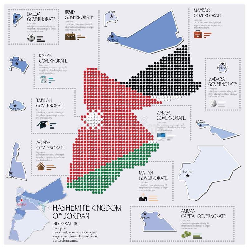 Haschemit Königreich Dot And Flag Map Ofs von Jordan Infographic stock abbildung