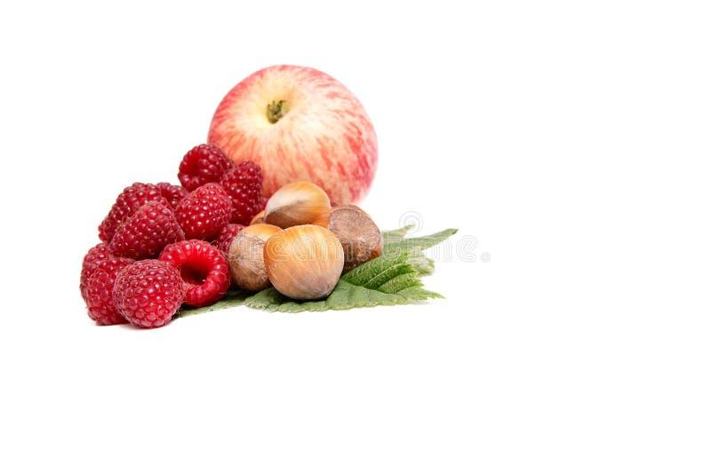 Haselnüße, Apfel und Himbeeren auf einem Weiß. lizenzfreie stockbilder